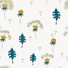 Seamless pattern with dandelion flower