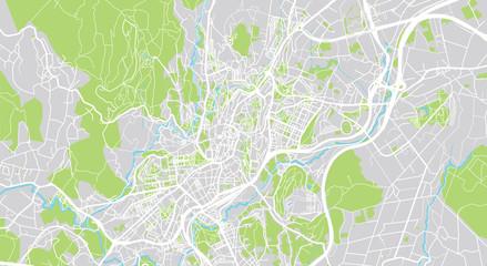 Urban vector city map of Santiago de Compostela, Spain