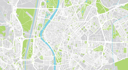 Urban vector city map of Seville, Spain