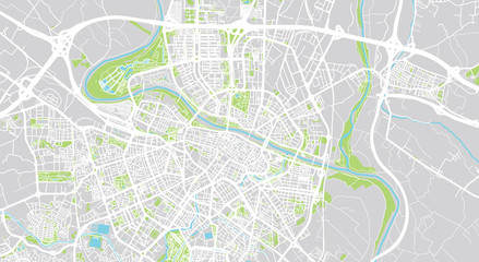 Urban vector city map of Zaragoza, Spain
