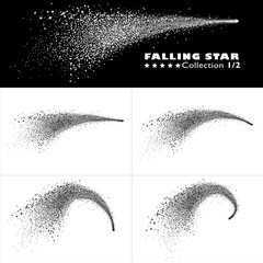 Shooting Star Trail 2D Vector Collection 1/2. Beautiful Stardust Particle Effect on Isolated Black/White Background. Elegantly Curved Falling Star with Star Tail Set - Abstract Meteor for Your Design!