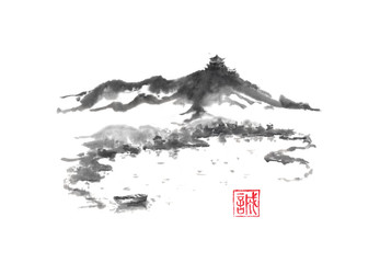 Japanese style sumi-e lake and castle ink painting.