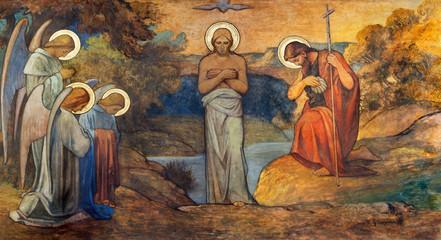 Fototapete - PRAGUE, CZECH REPUBLIC - OCTOBER 13, 2018: The fresco of Baptism of Jesus in church kostel Svatého Václava by S. G. Rudl (1900).