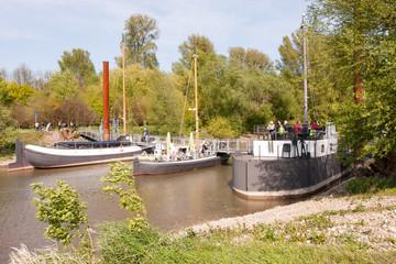Schiffsbrücke an der Wuppermündung, Leverkusen