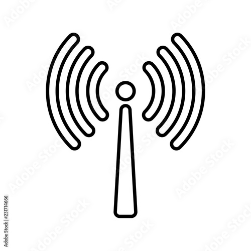 Signal Transmission Line Icon Antenna Or Broadcasting Tower And
