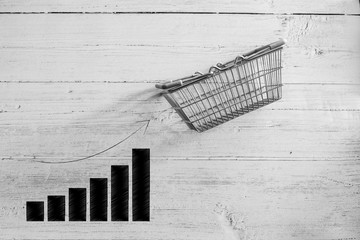 empty shopping basket with bar chart stats going up