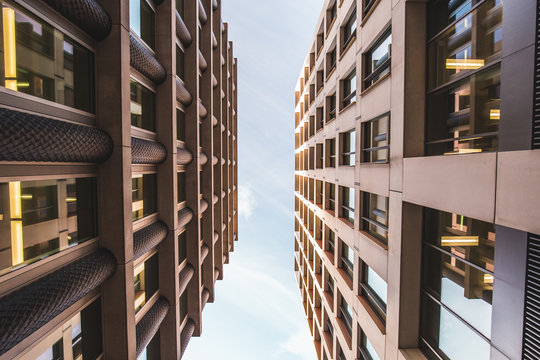 Low angle view of modern architecture buildings London