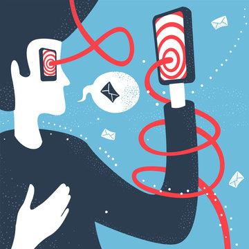 Vector Illustration Man and Modern Technology Communication