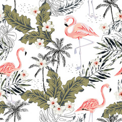 Tropical pink flamingo birds, plumeria flowers, palm leaves, trees white background. Vector seamless pattern. Graphic illustration. Exotic jungle plants. Summer beach floral design. Paradise nature