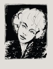 Tuinposter Art Studio Portrait of beautiful young woman