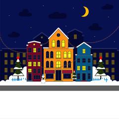 Night Christmas houses. Vector. Illustration