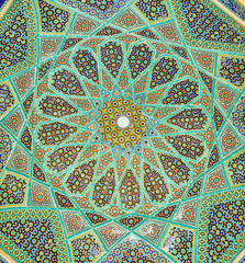 The rich mosaic patterns of Hafez Mausoleum, Shiraz, Iran