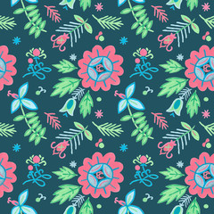 Seamless floral pattern. Ornamental ethnic motifs with fashion native rural design.
