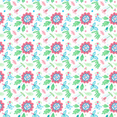 Seamless floral pattern with pink flowers. Ornamental ethnic motifs with fashion native rural design.