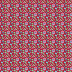 seamless pattern with flowers illustrations.