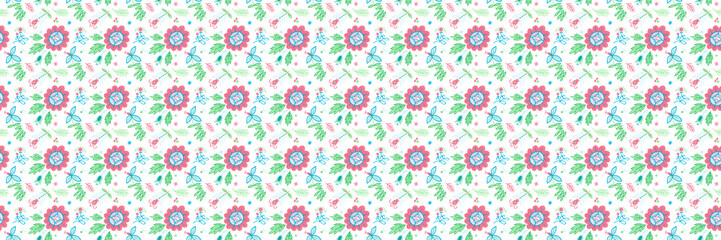 Seamless pattern with flowers. Ornamental ethnic motifs with fashion native rural design.