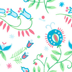 abstract background with herbal illustrations. Seamless rustic pattern floral art, Gouache illustration of herbal flowers decor. Ornamental ethnic motifs with fashion primitive rural design.