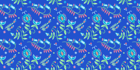 Abstract seamless background. Traditional rustic pattern floral art. Gouache illustration of herbal flowers decor.