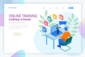 Isometric web banner online training or education and Internet training courses concept. Landing page template. Modern design for a web page.