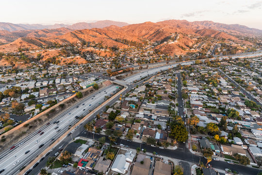 Aerial view Interstate 5 freeway and Verdugo Mountain in the San Fernando Valley near Burbank and Los Angeles, California.