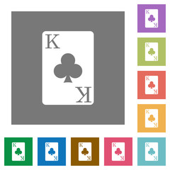 King of clubs card square flat icons