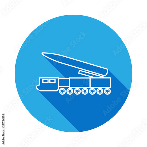 missile system line icon with long shadow  Element of