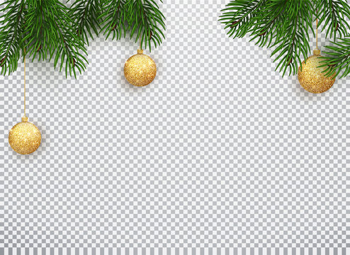 Winter holiday background. Border with Christmas tree branches and ornaments isolated on white. Vector illustration of Christmas 10 EPS