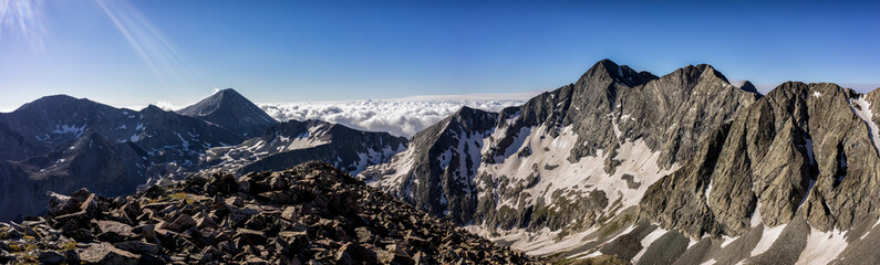 Wall Mural - Colorado Rocky Mountain Panorama.  Views of Blanca Peak, Ellingwood Point, Little Bear Peak, and Mt. Lindsey.  Rugged mountains in the Sangre de Cristo range of