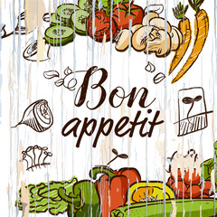 Bon appetit vegetables on wood