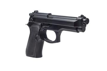 black plastic toy pistols white background
