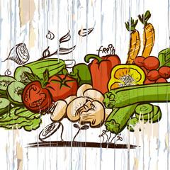vintage vegetables on wood