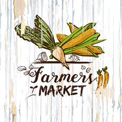Farmers market illustration on wood