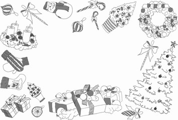 A set of Christmas and New Year design elements in doodle style