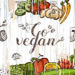 Go vegan vintage food illustration