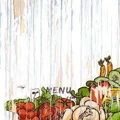 Vegetables on wood menu background