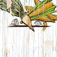 corn on wood menu background