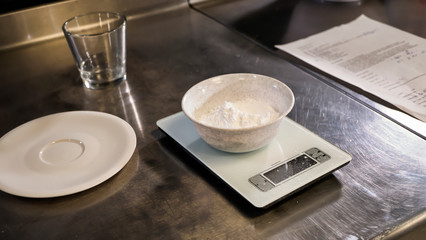 Flour on kitchen scale, Bakery, recipe, Cooking, Confectionery