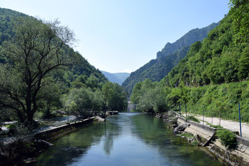 Mountain canoe slalom on Treska river in Matka canyon. Skopje, Macedonia.