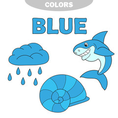Illustration of isolated color blue group vector - Learn the color. Education set. Illustration of primary colors. Vector - rain, shell, shark
