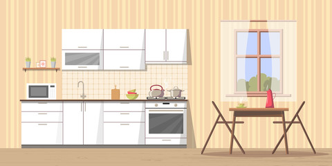 White kitchen interior background with furniture and stove, sink, cupboard, dishes - kettle, pan, bowl, microwave oven, utensil - cutting board, table and chairs near window. Modern flat style vector