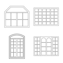 Vector illustration of door and front logo. Collection of door and wooden stock vector illustration.