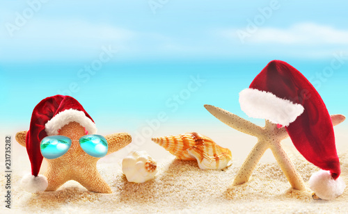 9ac553a3f78c1 Family of starfish on summer beach and Santa hat. Merry Christmas ...