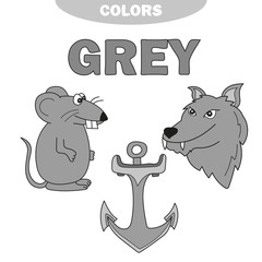 Learn The Color Gray - things that are gray color - Education set. Illustration of primary colors. Vector illustration. wolf, anchor, mouse