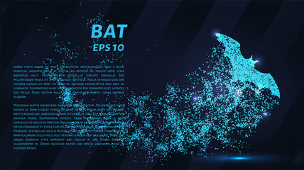 Bat blue points of light. Bat silhouette vector illustration.