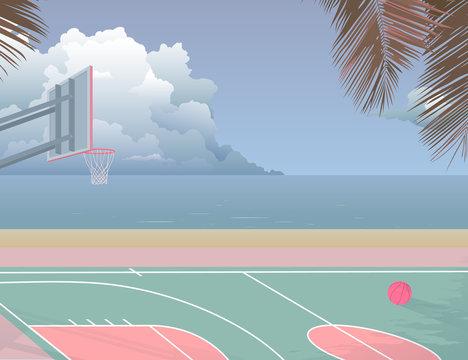 beach seaside basketball court
