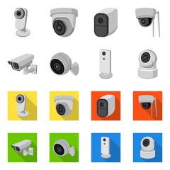 Isolated object of cctv and camera sign. Set of cctv and system stock vector illustration.