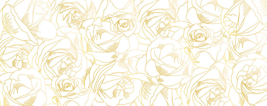 Roses bud outlines. Vector pattern with contours of flowers in golden colors. Abstract art, hand-drawn romantic background. Vector illustration, eps10. Template for poster, banner, cover, leaflets.