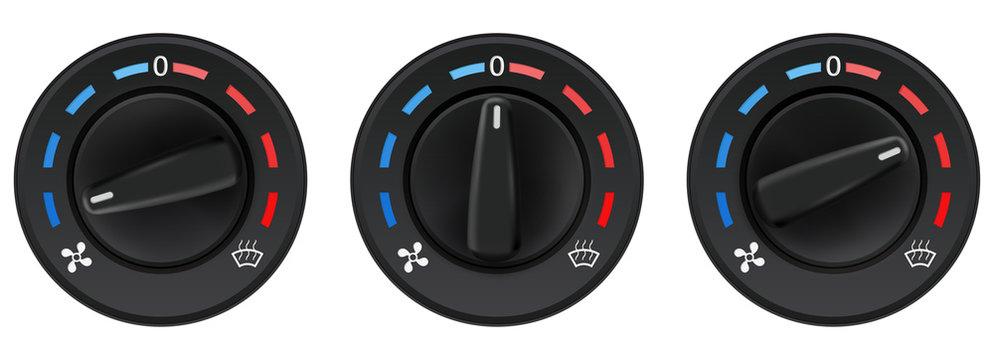 Car dashboard knob switch set. Auto air conditioner. Temperature selectors