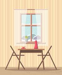 Dining room interior background with table and chairs near window with snowy view