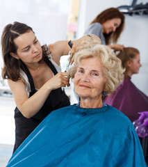Senior lady getting haircutting